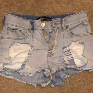 Ripped Light Wash Jean Shorts